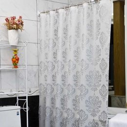 shower curtains flowers Canada - PEVA Fabric Shower Curtain with Hooks Waterproof Plastic Bath Screens Geometric Flowers Printing Eco-friendly Bathroom Curtains Y200108