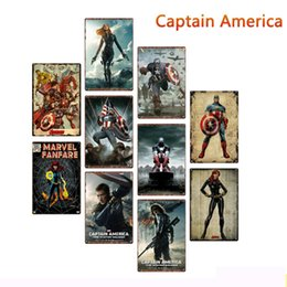 Pictures marvel online shopping - 20 cm Marvel Hero Captain America Metal Tin Signs Vintage Posters Metal Plaque Club Wall Home art metal Painting Wall Decor Art Pictures