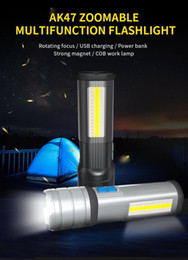 Multifunction Torch Australia - 5200mAh LED Flashlight Multifunction L2  Torch With COB Red White Blue Floodlight With Strong magnet as Phone Power Bank