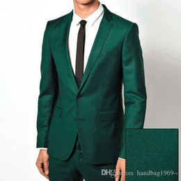 China High Quality Two Buttons Dark green Groom Tuxedos Groomsmen Notch Lapel Best Man Blazer Mens Wedding Suits (Jacket+Pants+Tie) D:36 supplier mens light green suit suppliers