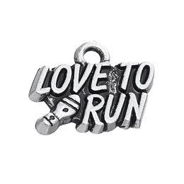 Running Charms Wholesale Australia - lemegeton Fishhook 20pcs Zinc Alloy LOVE TO RUN Living Locket DIY Message Charm For Jewelry Making
