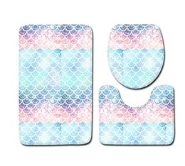 toilet carpet sets Australia - Fish Scale Printed Bath Mats 3pcs set Anti-slip Bathroom Floor Mats Toilet Cover Rug Bathroom Carpets Mat