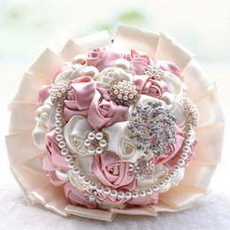 Bridal Brooch Flower UK - Handmade Beaded Brooch Silk Bride Bridal Wedding Bouquet Bridesmaid Artificial Flower