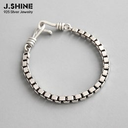 925 thick chain NZ - JShine 4mm Thick Box Chain 925 Sterling Silver Bracelet Vintage Retro Women's Bracelets on Hand Men Chain Bracelet Fine Jewelry