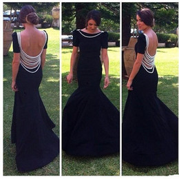 Mother bride dresses silver satin online shopping - Elegant Mother Of The Bride Dresses Black Short Sleeve See Through Back Beading Evening Dress Sweep Train Satin Formal Prom Gowns