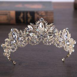 China 2019 New Fashion Baroque Luxury Crystal Bridal Crown Tiaras Light Gold Diadem Tiaras For Women Bride Wedding Accessories suppliers