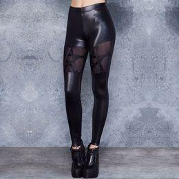 $enCountryForm.capitalKeyWord Australia - Women High Waist Leggings Leather Pants Black Sexy Costumes Stars Mesh Stitching Women Spring Pants For Party Club