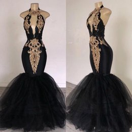 White Gold Dresses South Africa Australia - Mermaid Black Prom Dresses with Gold Appliqued South Africa Formal Evening Dress Halter Neck Sweep Train Occasion Party Dresses