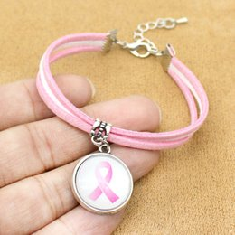 $enCountryForm.capitalKeyWord Australia - Breast Cancer Awareness Pink Ribbon Charm Bracelets For Women Men Bracelet Jewelry Friendship Gift With Card