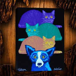 cats oil paintings Australia - Blue Dog Mardi Gras Cats,1 Pieces Canvas Prints Wall Art Oil Painting Home Decor (Unframed Framed) 24X32.