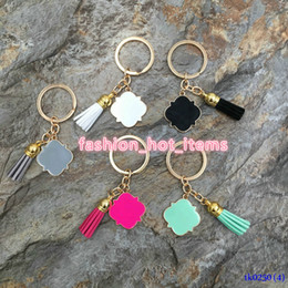$enCountryForm.capitalKeyWord Australia - Christmas Gift Keychain 3cm Cheap Gold Plated Suede Tassel Drop Keyrings Hanging Personalized Enamel Quatrefoil Keychains