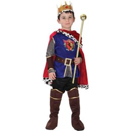 China Anime Halloween Christmas Carnival Children's Stage Cosplay Costume Prince King Cos 7pcs Perform Suit Prop Wand Kids Boys supplier halloween costume king suppliers