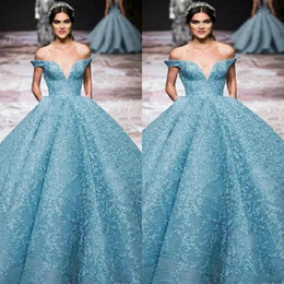 Off shOulder neckline yellOw dress online shopping - Elie Saab Light Blue Evening Dresses Off The Shoulder Plunging Neckline Lace Ball Gown Prom Dress Floor Length Special Occasion Gowns