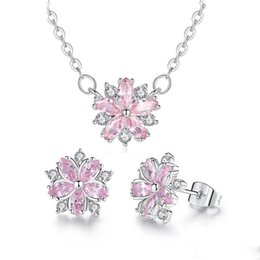 cherry jewelry sets Australia - 2019 New Flower Zircon Earrings Necklace Zircon Cherry Blossom Jewelry Set Wedding Party Elegant Fashion Jewelry Gifts for Women Girls