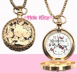 a88c3b0d3 2019 New Hot Sale Women Ladies Hello Lovely Cat Pocket Watches Student  Girls Cartoon Pocket Watches Pendant Necklace Link Chain Quartz Watch