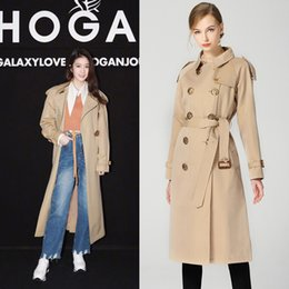 trench coat europe NZ - Europe New Women Spring High Street Fashion Turn Dow Collar Double Breasted X-Long Trench Coat Female Bird Button Long Outwear