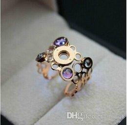 PurPle rhinestone jewelry sets online shopping - 2017 Love ring L titanium steel ring jewelry retro hollow porous purple diamond rose gold ladies open ring