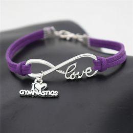 $enCountryForm.capitalKeyWord Australia - 2019 Fashion Handmade Jewelry Simple Purple Leather Rope Lucky Number 8 Characters Infinity Love I Heart Gymnastics Pendant Bracelet Bangles