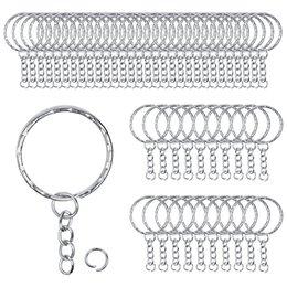 Металлические брелоки для ключей 50 шт. С цепочками и круглыми кольцами на Распродаже