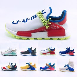 c7cc10563 New Origina Human Race Hu trail Running shoes For Men Women Pharrell  Williams Yellow noble ink core Black Red Sports Trainers Sneakers 5-12