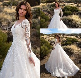 Make Lace Dress NZ - Gorgeous Sheer Long Sleeves Wedding Dresses 2019 Sexy Backless Lace Tulle Court Train Bridal Gowns Custom Made