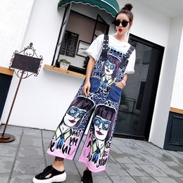 Cute denim overalls online shopping - MUMUZI Summer New Print Cute Cartoon Denim Overalls Dot Printing Wide Leg Jean Pants Trousers Rompers Overall For Women Fashion
