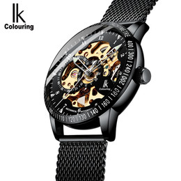 Luxury Ik Brand Watch Australia - IK Colouring Men Watches Luxury Brand Business Casual Black Mesh Bracelet Automatic Mechanical Skeleton Wristwatch Relogios