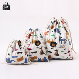 $enCountryForm.capitalKeyWord NZ - 1 pcs Animal printed 100%cotton canvas dust cloth bag Clothes socks underwear shoes receive bag home Sundry kids toy storage