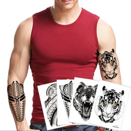 1183ab01c9c2f Fake Black Temporary Tattoo Sticker Body Art Owl Tiger Decal Fashion Cool  Waterproof for Women Men Arm Leg Back Shoulder Design Totem Tattoo