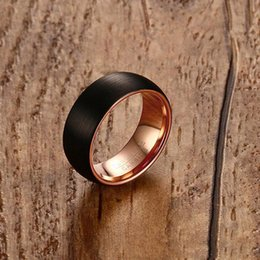 black matte ring Australia - New Fashion Design Handmade Mens Black Plating Tungsten Carbide Ring High Quality Matte Finished Ring Jewelry