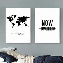 $enCountryForm.capitalKeyWord NZ - Nordic Minimalist Black & White World Map Motivational Quote Poster, Large Giclee Wall Art Canvas Painting 2pcs set No frame