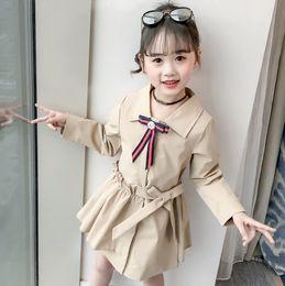 $enCountryForm.capitalKeyWord NZ - Lady style Kids trench coat designer girls pearls stripe Bows tie princess outwear lady style children falbala Bows belt long outwear F8844