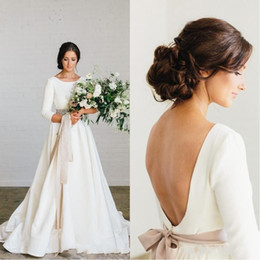 winter wedding dresses low back UK - 2020 New Vintage Country Stain Wedding Dresses with Sleeves Blush Sash Jewel Neck Low Back Full length Bohemian Wedding Gown Cheap