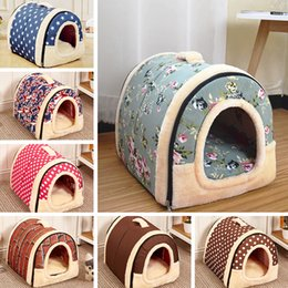 Dogs For Small Houses Australia - Pet Dog Bed House With Print Mat Foldable Dog Cat Bed Pad Nest For Small Medium Dogs Travel Kennels Basket Bags Pet Products D19011506