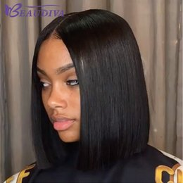 Discount natural black human hair wig - Bob Lace Front Human Hair Wigs With Baby Hair Pre Plucked Brazilian Remy Hair Full End Straight Short Bob Wig For Black