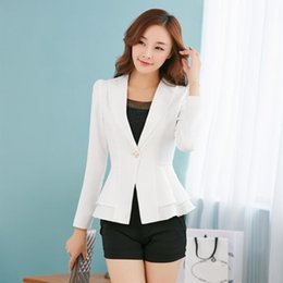 ladies plus short blazers 2019 - 2019 Autumn Fashion Women Blazers And Jackets One Button Long Sleeve Blazers Ladies Plus Size Female discount ladies plu