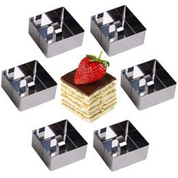 cake ring set Australia - Square 6pcs set Stainless Steel Cooking Rings Dessert Rings Mini Cake and Mousse Ring Mould Set with Pusher