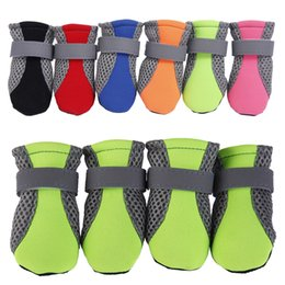 $enCountryForm.capitalKeyWord Australia - 10Sets Pet Dog Boots Shoes Summer Winter Breathable Mesh Shoes For Dog Reflective Straps Dog Boots 6 Colors 4 Sizes