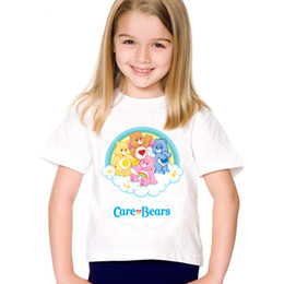 Wholesale Cartoon Print Care Bears Children Funny T shirts Kids Cute Summer Short Sleeve Tees Boys Girls Casual Tops Baby Clothes HKP5146