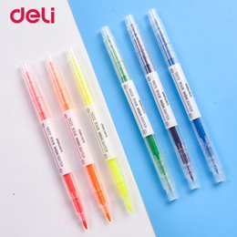 $enCountryForm.capitalKeyWord Australia - Deli Dual-Headed Fluorescent Pen Color Highlight Marker Doodle Marker for Children and Students Art Supplies