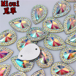 $enCountryForm.capitalKeyWord NZ - 13*18mm 100pcs lot AB Crystal Superior Taiwan Acrylic Flat Back Drop Shape Acrylic Rhinestone Sew On 2 Hole beads ZZ36