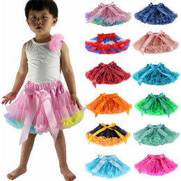 wholesale tutus Australia - TUTU Skirts Girls Lace Princess Pettiskirt Ruffle Ballet Skirts Tulle Dance Dress Designer Princess Kids Clothing 28 Colors YW4062-2