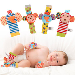 Sock bandS online shopping - Christmas Set Animal Baby Infant Soft Hand Wrist Band Foot Socks Rattles Playing Toy Hot Creative Design D Animal Head Strap