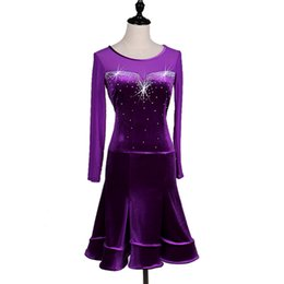 flash dancing Australia - Purple Latin Dance Dress Women Stage Custom Made Flashing Rumba Samba Cowboy dance Dress Latin Tassel Dancing Skirt