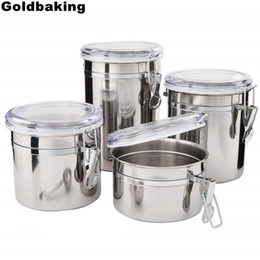 Round Kitchen Sets NZ - Goldbaking 4 Pieces Kitchen Canisters Stainless Steel Beautiful Food Container Set for Kitchen Counter with Airtight Lids C18112301
