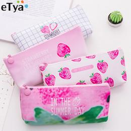 $enCountryForm.capitalKeyWord Australia - wholesale Women Makeup Bag Pouch Strawberry PU Leather Travel Lipstick Oil Cosmetic Bags Organizers Student School Pencil Bag