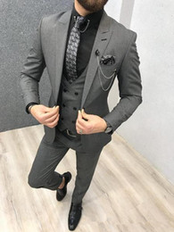 mens grey tweed piece suit Australia - Dark Grey Wedding Mens Suits Custom Slim Fit Groom Tuxedos Shawl Lapel 3 Piece Jacket Pants Male Blazer (Jacket+Pants+Vest+Tie)