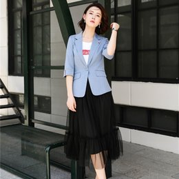 women working skirt suits Australia - New 2020 Women Business Suits with Skirt and Blazer Sets Work Wear Jackets Clothes Half Sleeve SH190929