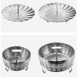 $enCountryForm.capitalKeyWord Australia - Stainless Steel Folding Dish Steamer 11 inch Food Basket Mesh Vegetable Vapor Cooker Steamer Expandable Kitchen Tool
