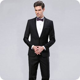 men pants italy Australia - Italy Groom Black Wedding Tuxedos Men Suits Pants 2Piece(Coat+Pants)Slim Fit Costume Homme Classy Terno Masculino Tailored Trajes de hombre